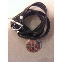 Bracelet avec médaille argent lien suédine