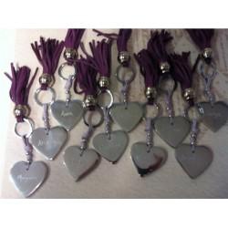 Porte clé femme coeur Alu