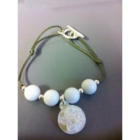 Bracelet jade blanc + ange nacre blanc