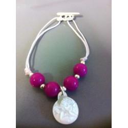 Bracelet jade rose fushia + nacre ange
