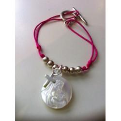 Bracelet enfant vierge + croix argent