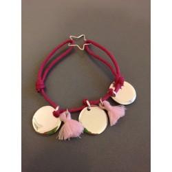 Bracelet Médaille en argent et pompon