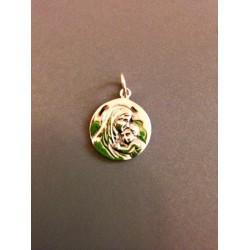 Médaille vierge à l'enfant en argent 2,2 cm