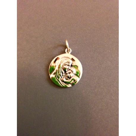 Médaille vierge à l'enfant en argent 1,5 cm