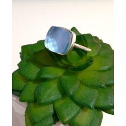 Bague argent pierre topaze bleue