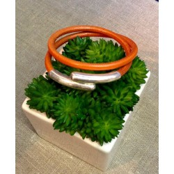 Bracelet double  cuir  orange  fermoir argenté