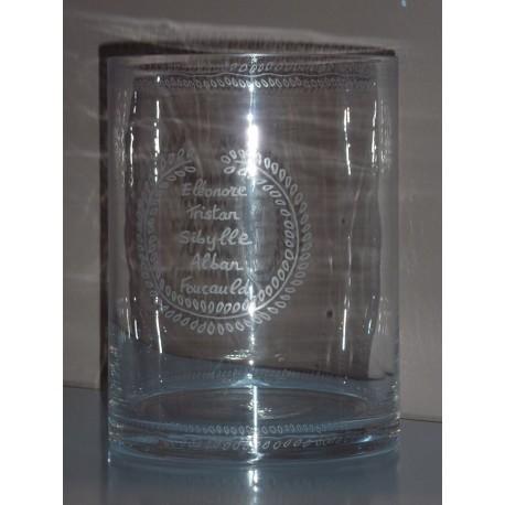 Photophore ou vase à graver pour événements