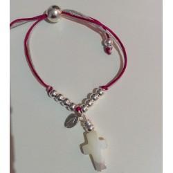 Bracelet enfant vierge + croix nacre billes argent