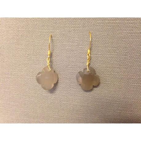 Boucle d'oreilles agate grise et  plaqué or