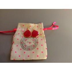 Boucle d'oreilles plaqué or agate rose
