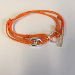 Bracelet double tour en cordon soie et synthétique grain de café en argent