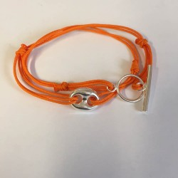 Bracelet double tour  grain de café lien orange