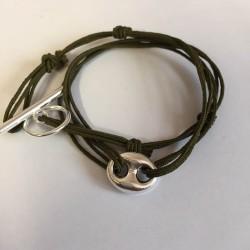 Bracelet double tour  grain de café lien kaki