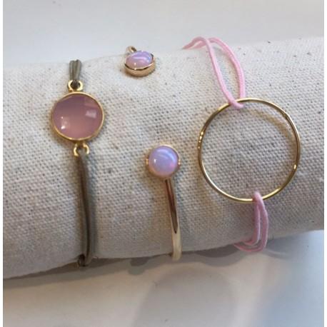 Composition bracelet rose / plaqué or