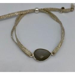 Bracelet 1 pierre quartz fumé fil argent