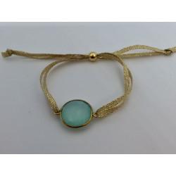 Bracelet 1 pierre fil argent -  fil or