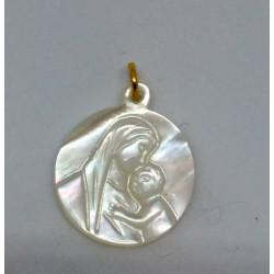Médaille vierge à l'enfant en nacre blanche 1,5 cm