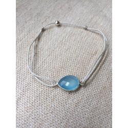 Bracelet 1pierre sertie argent bleu calcédoine