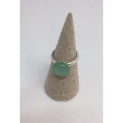 Bague argent réglable coloris vert d'eau