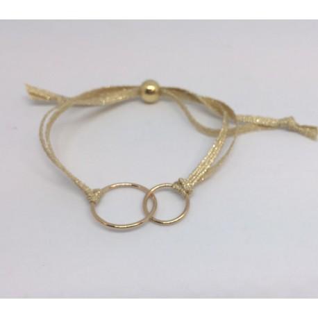 Bracelet double anneau plaqué or