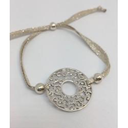 Bracelet argent lien lin et fil argent