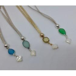 Collier perle en jade vert et quartz rose