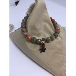Bracelet en pierres labradorite + petit garçn pl or