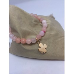 Bracelet en pierres quartz rose + tréfle pl or