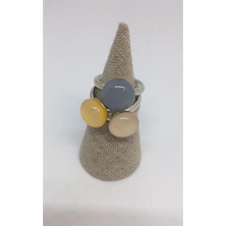 Bague Océane tricolore Jamin/nude/gris de lin