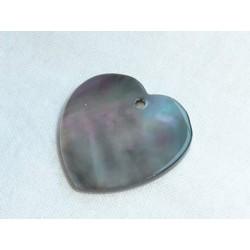 Nacre coeur gris  - Grand modèle 2,5 cm