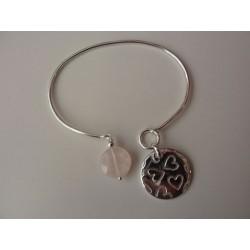 jonc argent avec médaille motif coeur +quartz rose
