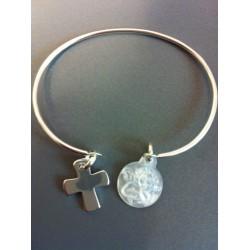 Bracelet Jonc argent + croix argent + ange  en nacre