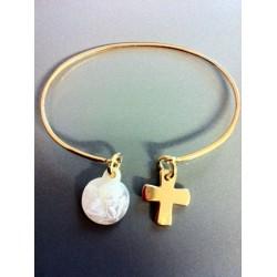 Jonc plaqué or + croix + vierge nacre