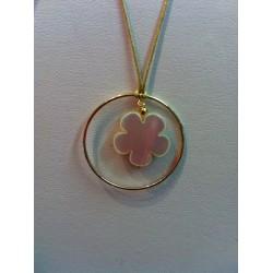 collier cercle plaqué or + fleur nacre