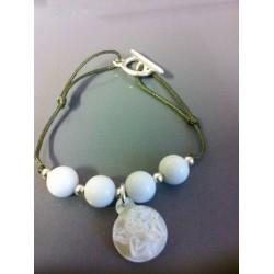 Bracelet jaspe blanc + ange nacre blanc
