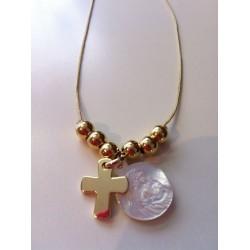 collier vierge + croix plaqué or