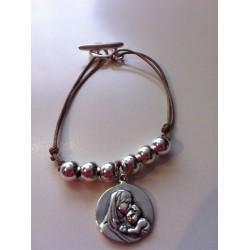 Bracelet vierge à l'enfant argent lien taupe 1,5cm