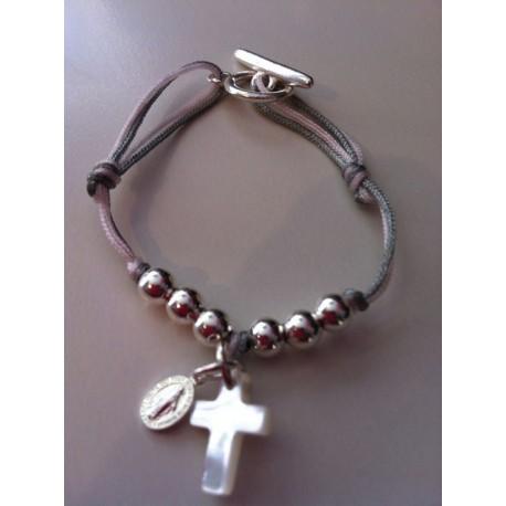 Bracelet enfant vierge + croix  nacre