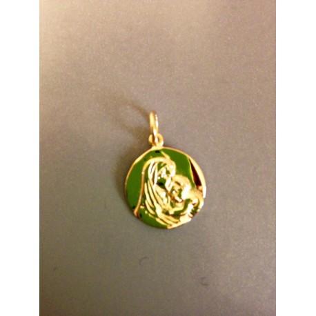 Médaille vierge à l'enfant en plaqué or 1,5 cm