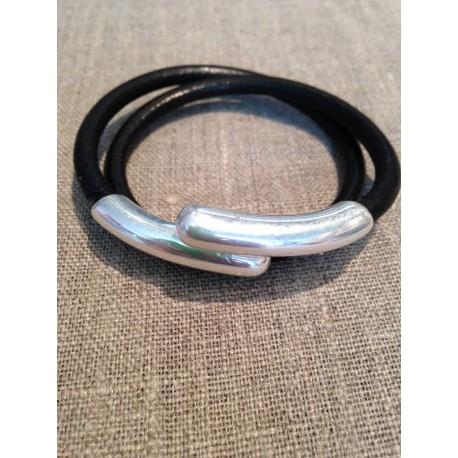 Bracelet double  cuir - noir