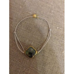 Bracelet tréfle labradorite seri plaqué or