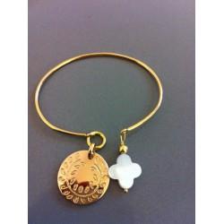 Jonc plaqué or avec médaille vierge en plaquée or ou argent