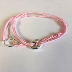 Bracelet double tour  grain de café lien rose