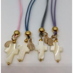 Bracelet croix en nacre vierge plaqué or