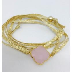 Bracelet 1 pierre fil argent -  fil or double tour