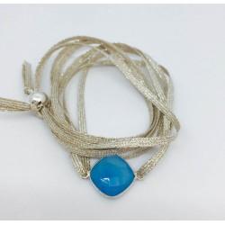 Bracelet 1 pierre fil argent -  double tour