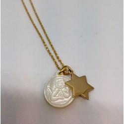 collier étoile plaqué or et ange