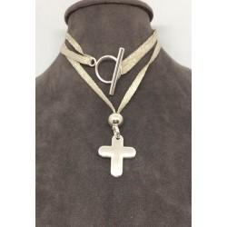collier ou bracelet double tour croix