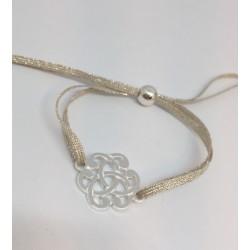 Bracelet argent arabesque lien lin et fil argent
